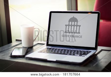 Governance And Building, Authority Computing Computer Laptop With Screen On Table Silhouette And Fil