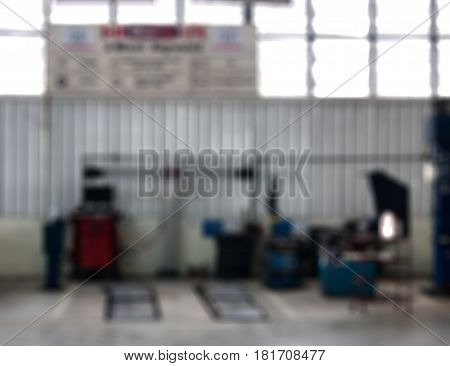 Blurred Of Repair Service Station Auto Repair Service Station Blurred Background.