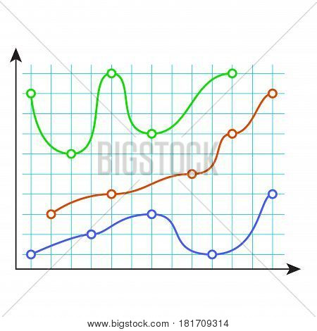 Curve color chart. Financial data chart isolated on white. Vector illustration