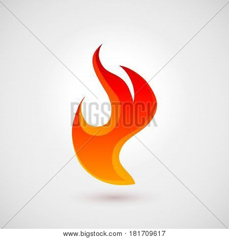 Fire Icon in Trendy Flat Style. Illustration for Your Web Site Design