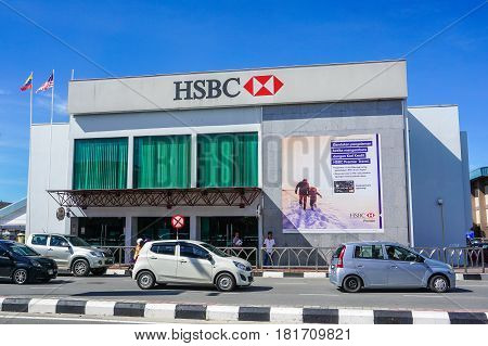 Labuan,Malaysiai-Apr 7,2017:View of HSBC Bank building in Labuan island,Malaysia.HSBC Bank Malaysia was incorporated locally in Malaysia in 1994 & subsidiary of HSBC Holdings headquartered in London