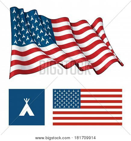 Vector illustrations of the American flag both waving and flat having Indian Teepee icons instead of stars. All elements neatly on well described layers.