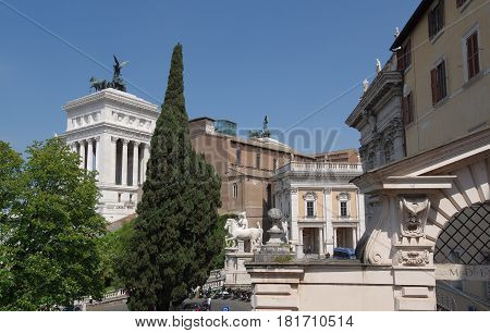 ROME ITALY - APRIL 13 2017: the Dioscuri statues Castor and Pollux at the end of the Cordonata staircase on the Capitoline Hill