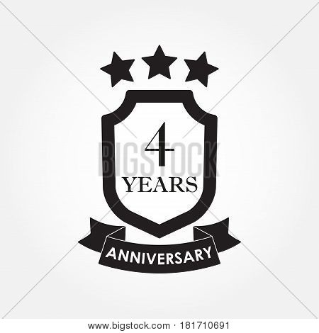 4 years anniversary icon or emblem. 4th anniversary label. Celebration invitation and congratulation design element. Vector illustration