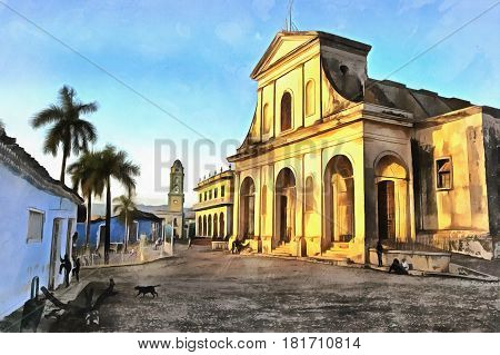 Colorful painting of Trinidad church, Trinidad, Cuba