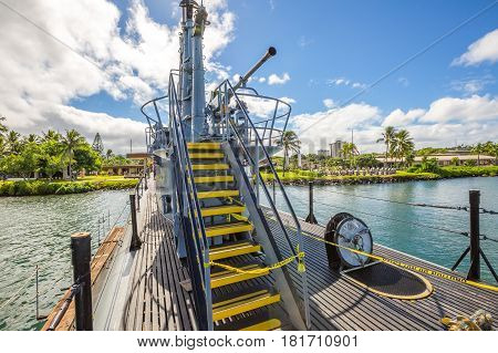 HONOLULU, OAHU, HAWAII, UNITED STATES - AUGUST 21, 2016: machine gun tower with stairway of the USS Bowfin SS-287 submarine at Pearl Harbor memorial site. National historic and patriotic landmark.