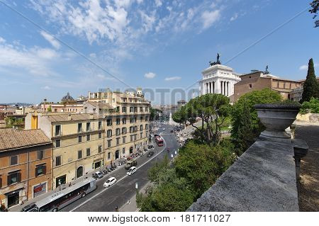 ROME ITALY - APRIL 13 2017: the crowded Via del Teatro Marcello as seen from the Caffarelli terrace on the Capitoline Hill