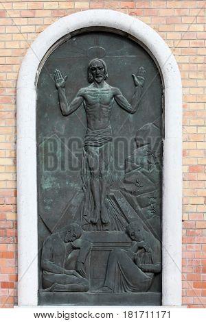 ZAGREB, CROATIA - OCTOBER 28: Resurrection of Christ, Mirogoj cemetery in Zagreb, Croatia on October 28, 2013.
