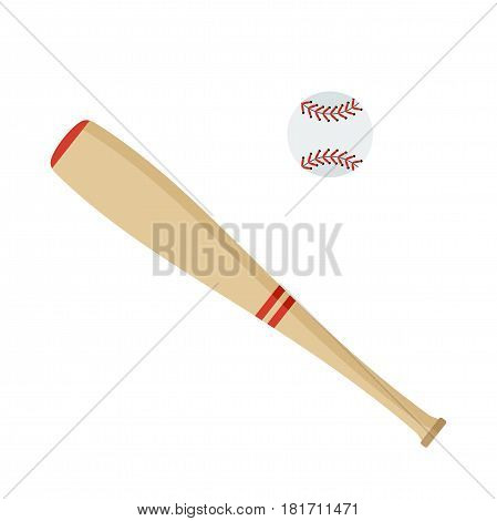Baseball bat and ball. Flat vector cartoon illustration. Objects isolated on a white background.