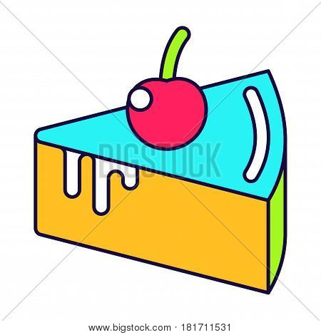 Cake with cherry lines icon. Fashion patch, pin badges set inspried by 80s - 90s comic style. Flat vector cartoon illustration. Objects isolated on a white background.