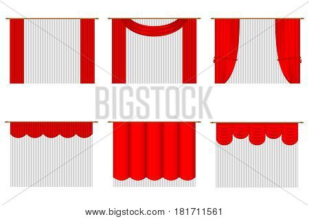 Set of curtains with tulle. Flat design vector illustration vector.