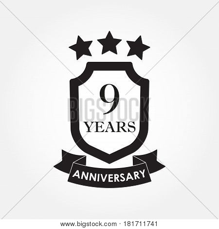 9 years anniversary icon or emblem. 9th anniversary label. Celebration invitation and congratulation design element. Vector illustration