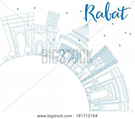 Outline Rabat Skyline with Blue Buildings and Copy Space. Business Travel and Tourism Concept with Historic Architecture. Image for Presentation Banner Placard and Web Site