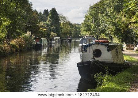 Canal Barges On Grand Union Canal At Rickmansworth In Colne Valley Regional Park.