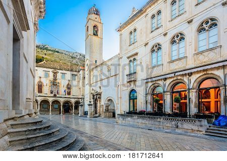 Marble view at historic old square in city center of town Dubrovnik, european travel destinations, Croatia.
