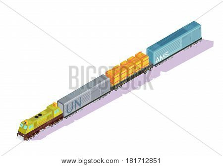 Trains isometric set of cars with locomotive engine boxcars and freight refrigerator rail vans with shadows vector illustration