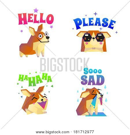 Corgi composition set with four isolated funny lap dog character flat images with decorative text captions vector illustration