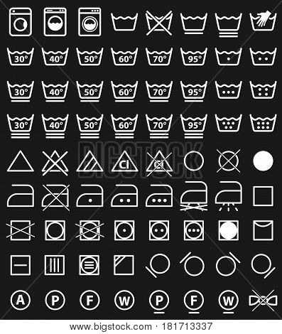 laundry care symbols, washing icons set design