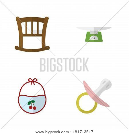 Flat Child Set Of Children Scales, Pinafore, Infant Cot And Other Vector Objects. Also Includes Pinafore, Children, Weighing Elements.