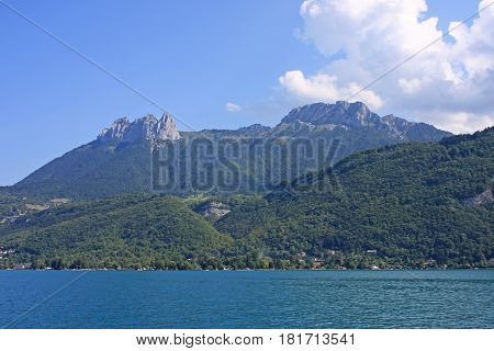Mountains of the French Alps overlooking Lake Annecy