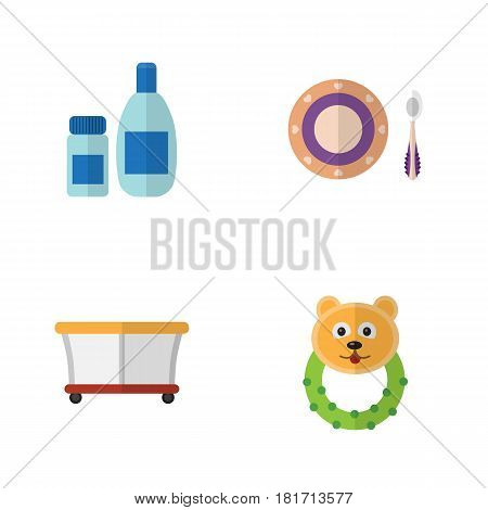 Flat Child Set Of Cream With Lotion, Playground, Baby Plate And Other Vector Objects. Also Includes Baby, Plate, Dish Elements.
