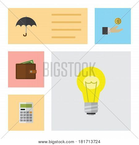 Flat Gain Set Of Calculate, Hand With Coin, Parasol Vector Objects. Also Includes Calculate, Bulb, Hand Elements.