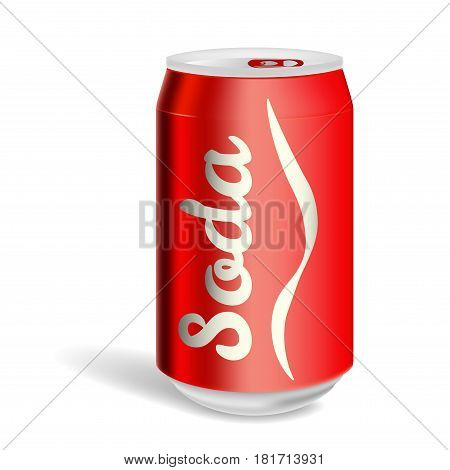Aluminum soda can isolated on a white background