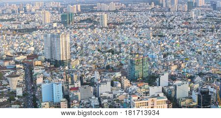 Ho Chi Minh City, Vietnam - April 11, 2017: High view of Saigon skyline with tall buildings showing the development of the country in Ho Chi Minh City, Vietnam