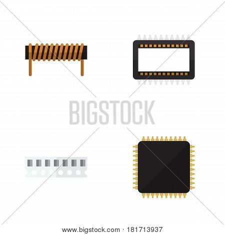 Flat Device Set Of Memory, Bobbin, Cpu And Other Vector Objects. Also Includes Microprocessor, Mainframe, Memory Elements.