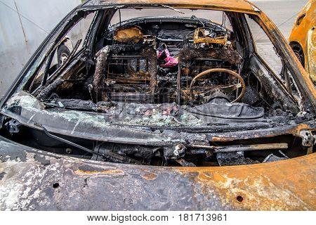 the salon burned car close up shot