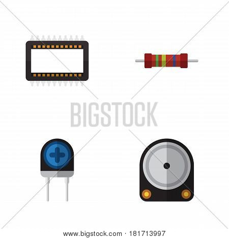 Flat Device Set Of Hdd, Transducer, Resistance And Other Vector Objects. Also Includes Transistor, Unit, Resistor Elements.