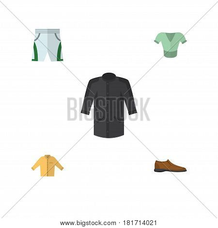 Flat Dress Set Of Male Footware, Casual, Banyan And Other Vector Objects. Also Includes Uniform, Footware, Blouse Elements.