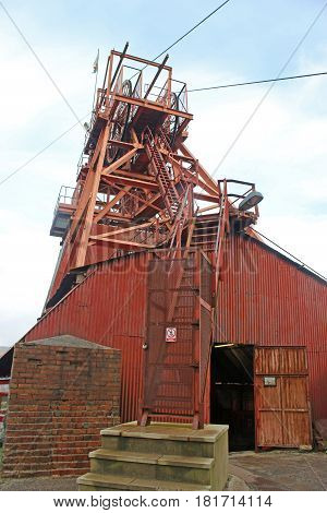 header of the old coal mine at Blaenavon, Wales
