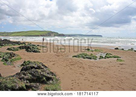 Bigbury beach in Devon at low tide