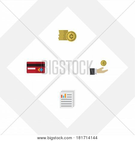 Flat Exchequer Set Of Cash, Payment, Hand With Coin Vector Objects. Also Includes Cash, Money, Coin Elements.