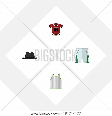 Flat Dress Set Of T-Shirt, Singlet, Trunks Cloth And Other Vector Objects. Also Includes Cloth, Shirt, Tank Elements.