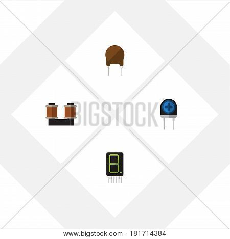 Flat Electronics Set Of Transducer, Display, Triode And Other Vector Objects. Also Includes Copper, Fiildistor, Recipient Elements.