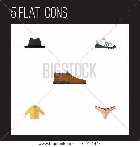 Flat Clothes Set Of Lingerie, Male Footware, Panama And Other Vector Objects. Also Includes Panties, Shoe, Gumshoes Elements.