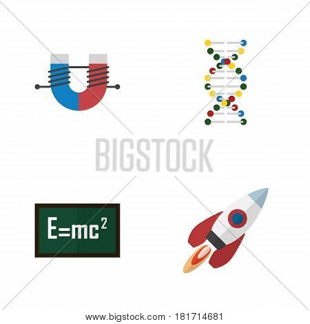 Flat Science Set Of Spaceship, Genome, Theory Of Relativity And Other Vector Objects. Also Includes Engine, Genome, Relativity Elements.