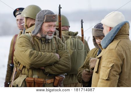 Closeup Reenactors During Military-historical Festival