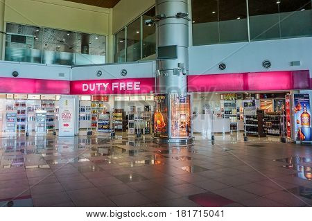 Labuan,Malaysia-Apr 8,2017:Duty free shop in Labuan,Malaysia.The cheap,duty free products like chocolate,alcohol & cigarette are among the main attractions of the Labuan island,Malaysia.