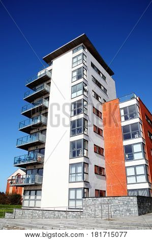 Swansea, Wales, UK - March 31, 2017:  Modern luxury flat apartments in the city centre