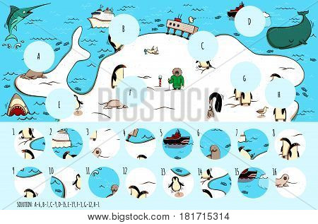 Geography Visual Game: Antarctica. Task: Find missing pieces. Illustration is in eps10 vector mode solution in hidden layer.