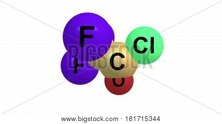 Trifluoroacetyl chloride or TFAC is a gaseous chemical compound with the chemical formula C2ClF3O. It is usually shipped as a liquid under high pressure. The compound is a toxic gas. 3d illustration