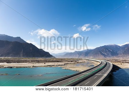 expressway across the yarlung zangbo river valley in tibet China