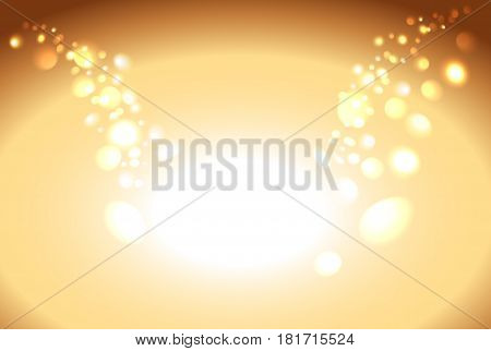 Gold shiny sparkle bokeh background and light place. Golden empty place for objects. Vector illustration stock vector.