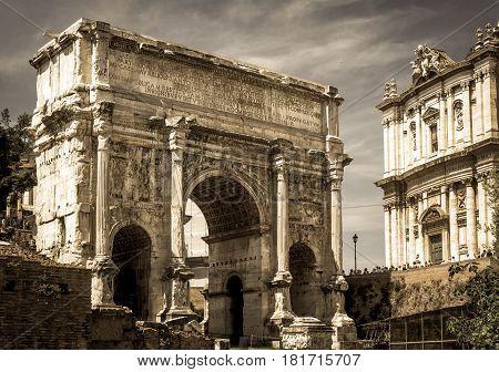 The Arch of Septimius Severus in Roman Forum, Rome, Italy