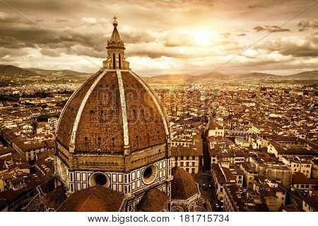 Florence sunny view, Italy. The Basilica di Santa Maria del Fiore (Basilica of Saint Mary of the Flower) in the foreground.