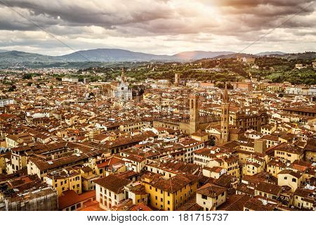 View of Florence from the Duomo to the Palazzo Vecchio and the Basilica of Santa Croce, Italy. Florence skyline and cityscape.