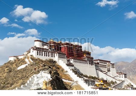 the potala palace against a sunlight sky in lhasa city China